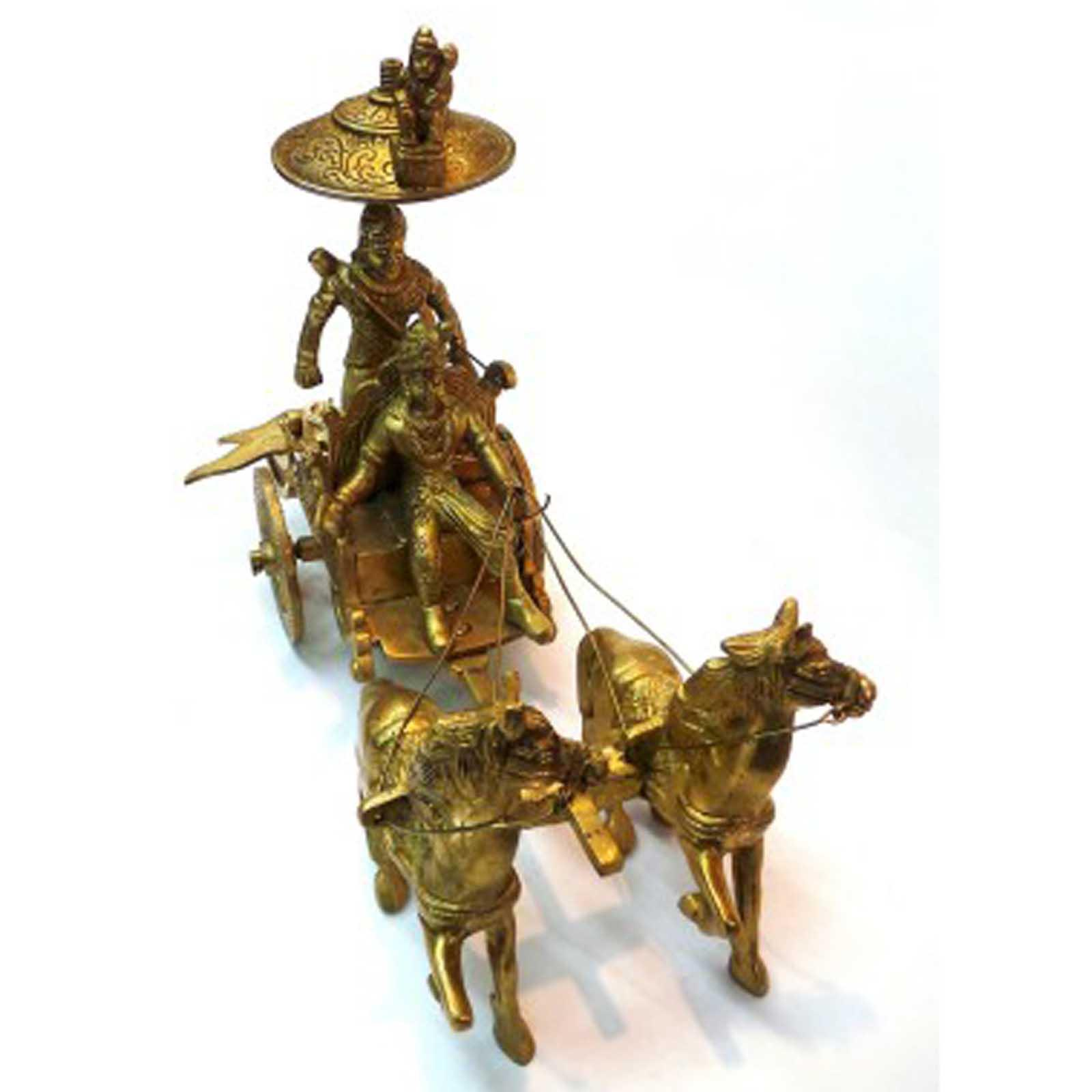 Horse Cart Arjun Rath Made Of Brass Metal For Home