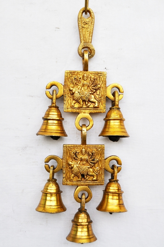 Temple Brass Metal Maa Durga Hanging Bell With 5 Little