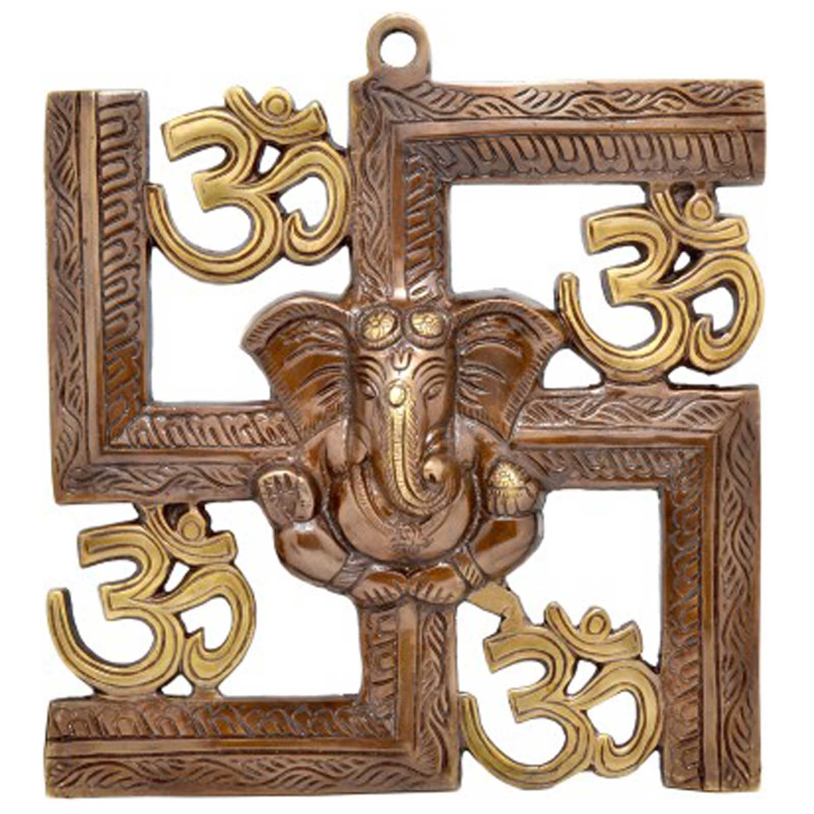 Ganesha and swastik brass wall hanging buy wall decor online for Wall hanging