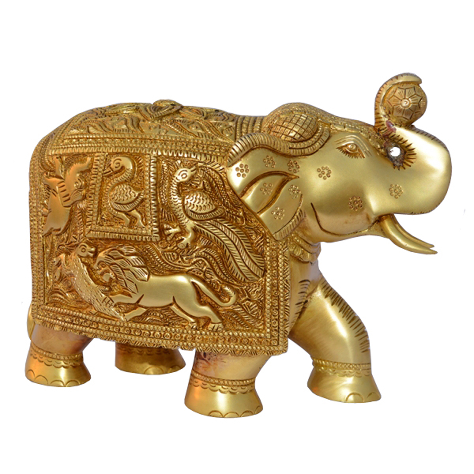 Royal Brass Elephant Decorative Statue With Engraved