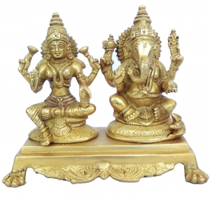 Lord Ganesha and Goddess Laxmi Statue in Antique Finish