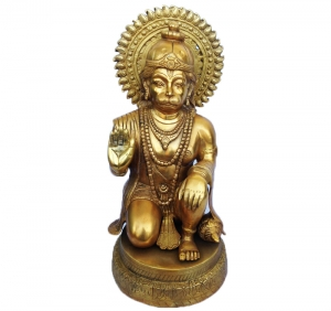 Handmade Craft Brass Statue of Hanuman For Temple and Home Decor
