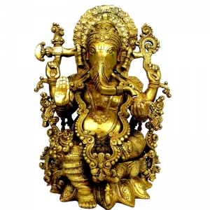 Brass metal hand carved decorative Lord Ganesha statue