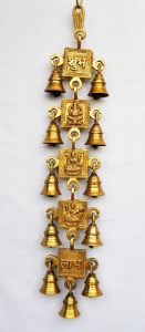 Lord Ganesha brass metal hanging bell with 11 little bells