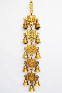 Bells Wind Chims Yellow Finish with religious figures