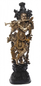 Krishna Brass Statue Hindu Temple worship or decorative collectible Figure
