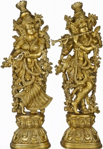 Aakrati Lord Radha Krishna Statue for Your Home Decoration Brass Metal Made Figure by Ashopi Antique
