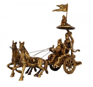 Chariot - Horse Cart - Arjun Rath at The Time of Geeta Shar in Mahabharat War Light Brown Antique Finish - Metal Brass Home and Office Table Decor Gift