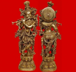 Krishna Brass Statue Sculpture Hindu Religious Temple worship or decorative handicrafts