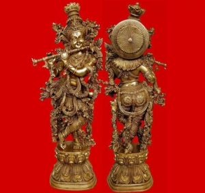 Brass Krishna Statue Religious decorative figure 30 inch height