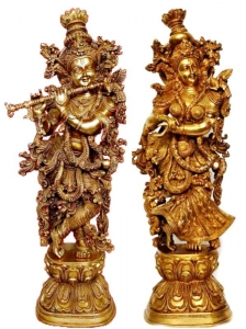 Aakrati Metal Brass Handmade Handicrafts Lord Radha Krishna Statue For Your Home Decoration By Ashopi Antique
