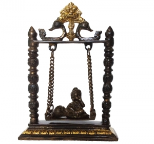 Awesome Statue of Baby Krishna Sitting on a Swing
