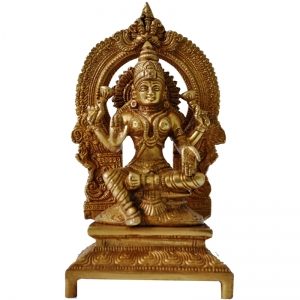 Aakrati Goddess Lakshmi Temple Statue of Brass Yellow