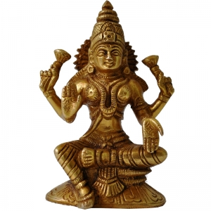 Aakrati Goddess Lakshmi Brass Statue Brown