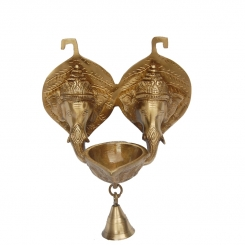 Brass Oil Lamp of Two Faces of Lord Ganesha