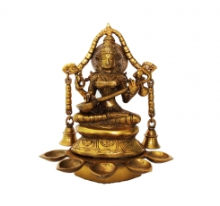 Goddess Saraswati Oil Lamp with Bells Made in Brass Metal