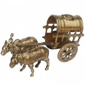 Bull Cart Designer Sculpture Made in Brass Metal