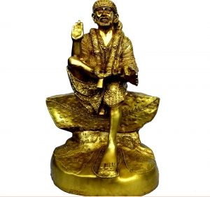 Lord Sai Nath Sitting Statue of Brass for Temple