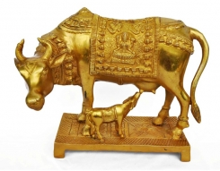 Cow Statue of Brass metal made Sign of Krshna
