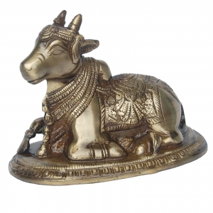 Aakrati Sitting Cow - Nandi Religious Brass decorative Figure