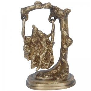 Lord Radha Krishna Swing Statue of Brass in Antique Finish By Aakrati