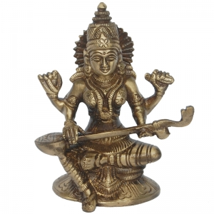 Goddess Saraswati Brass Statue  in Antique Finish By Aakrati
