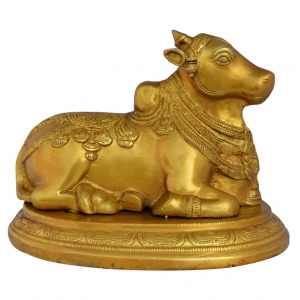 Nandi sitting lord shiva Brass Statue with Traditional Simple Carving By Aakrati