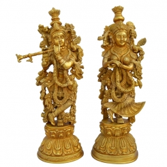 Radha Krishna Brass Statue with Decorative Carving and attractive look by Aakrati