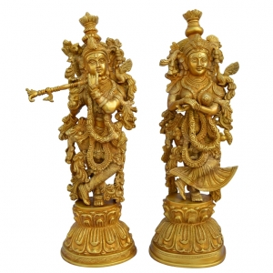 Aakrati Radha Krishna Brass Statue with Decorative Carving and Attractive Look Yellow