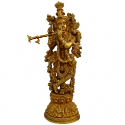 Lord Krishna Living Room Decorative Brass Satue By Aakrati