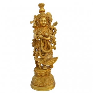 Aakrati Brass Home Décor Metal Brass Staue Of Goddess Radha Ji Yellow