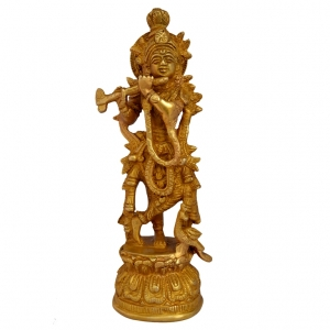 Aakrati Lord Krishna Brass Statue For Home Decor And Temple Yellow
