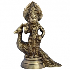 Murgan, Kartikey with Peacock Religious Brass Statue By Aakrati