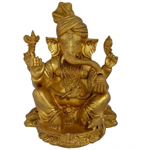 Sitting Ganesha with pagdi Brass Statue in Golden Shine antique finish for Living Room By Aakrati