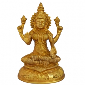 Aakrati Goddess Laxmi Brass Reliogious Statue For Wealth And Fortune Yellow