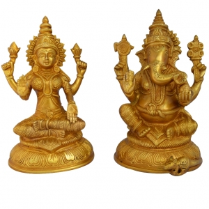 Aakrati Laxmi Ganesha Pair Of Brass In Golden For Your Home & Temple Yellow
