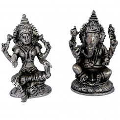 Laxmi Ganesha White Metal Statue In Silver Color For Home Temple By Aakrati