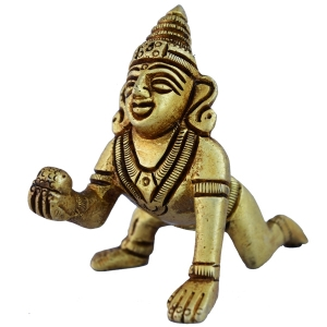 Baby Krishna Statue Made of Brass By Aakrati