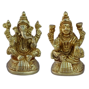 Aakrati Laxmi Ganesha Pair in Yellow Finish