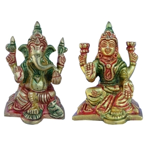 Lakshmi and Ganesha Pair of Brass Metal By Aakrati