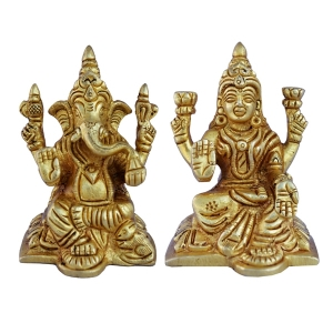Aakrati-Lakshmi and Ganesha Pair of Brass Metal