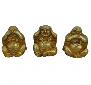 Three set of Laughing Buddha giving message of Gandhi ji