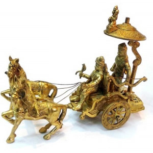 Horse Cart  Arjun Rath Made of Brass Metal For Home Decoration