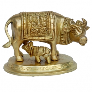 Cow and calf small size metal decorative statue