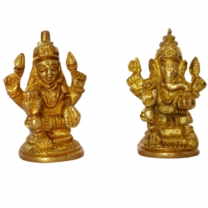 Lakshmi Ganesha Pair made in brass metal by Aakrati