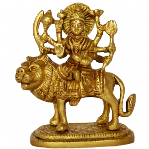 Goddess Durga Statue Sitting on Lion