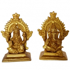 Laksmi and Ganesha Sitting on a Carving Throne