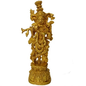 Aakrati Krishna Religious Metal Sculpture Yellow Finish - Hindu Religious Lord Statue in Brass Metal - Unique for Temple Worship and Decoration, a Decorative Fi