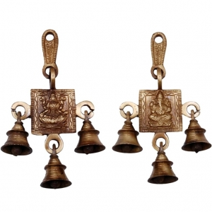 Aakrati 3 Bells Brass Hanging Hindu God Ganesha and Goddess Laxmi Ji Statue Engraved for Luck Home Temple Use - Ganesha Laxmi Statue Hindu Idols Figure with Han