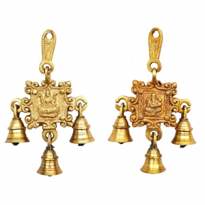 Aakrati Ganesh Laxmi Wall Hanging Bells Yellow Finish - Unique Gift for Door Wind Chimes Made in Brass - Hindu Religious Home Decor Set of 2